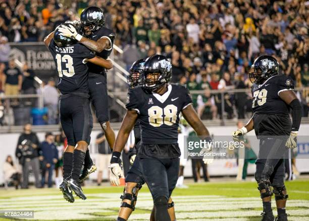 Knights wide receiver Gabriel Davis celebrates scoring during the football game between the UCF Knights and USF Bulls on November 24 2017 at Bright...
