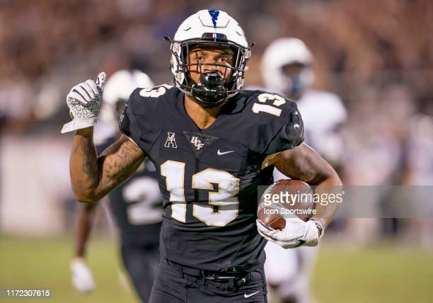 Knights wide receiver Gabriel Davis scores his 4th touchdown during the football game between the UCF Knights and the UConn Huskies on September 28...