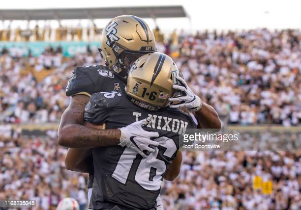 Knights wide receiver Tre Nixon celebrates scoring a touch down during the football game between the UCF Knights and the Stanford Cardinals on...