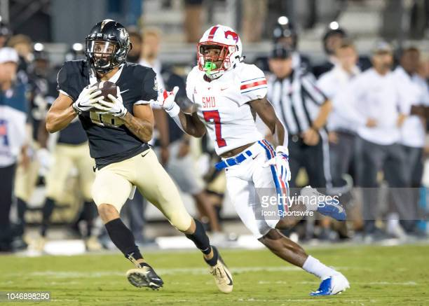 Knights wide receiver Tre Nixon runs for a first down during the football game between the UCF and SMU on October 6 2018 at Bright House Network...