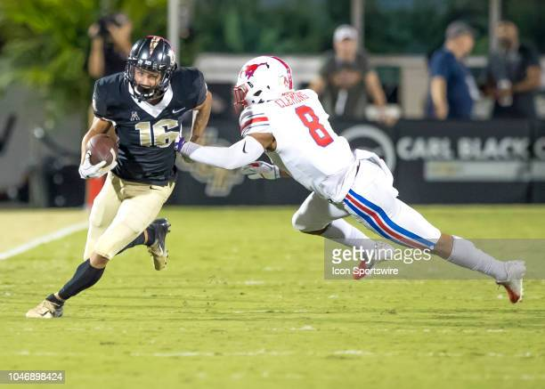Knights wide receiver Tre Nixon runs the ball during the football game between the UCF and SMU on October 6 2018 at Bright House Network Stadium in...