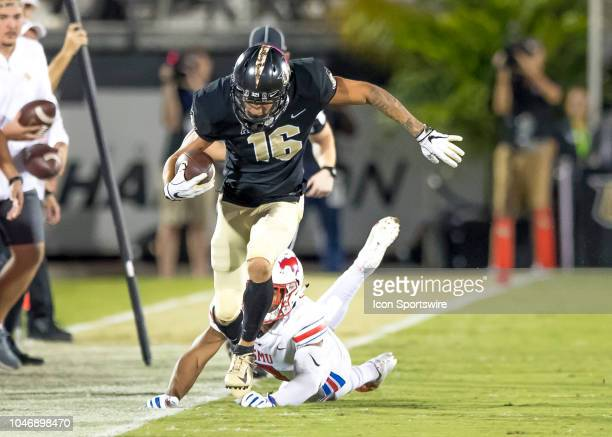 Knights wide receiver Tre Nixon runs the ball for a first down during the football game between the UCF and SMU on October 6 2018 at Bright House...