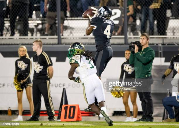 Knights wide receiver Tre'Quan Smith catches for a first down during the football game between the UCF Knights and USF Bulls on November 24 2017 at...