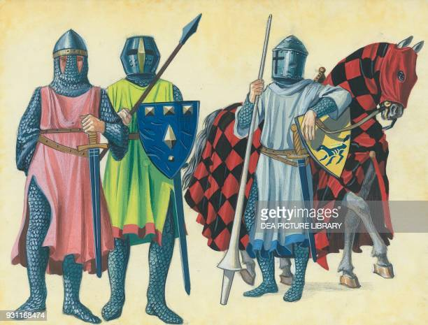 Knights with mail and shield drawing 13th century
