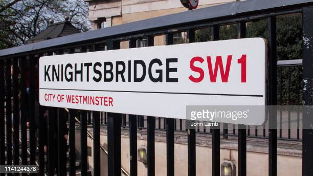 knightsbridge street sign.close-up. - knightsbridge stock pictures, royalty-free photos & images