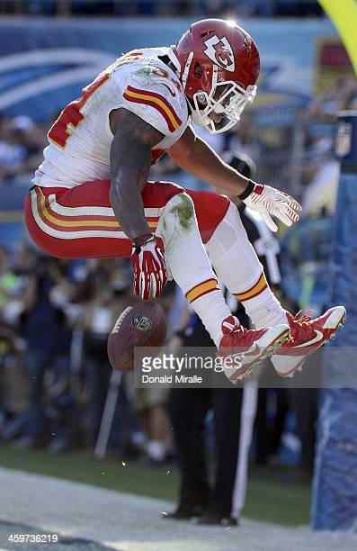 Knile Davis of the Kansas City Chiefs celebrates after scoring a touchdown against the San Diego Chargers during their game on December 29 2013 at...