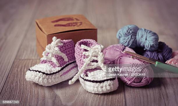 Knitted babys shoes