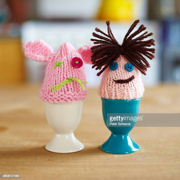 Knitted egg warmers couple