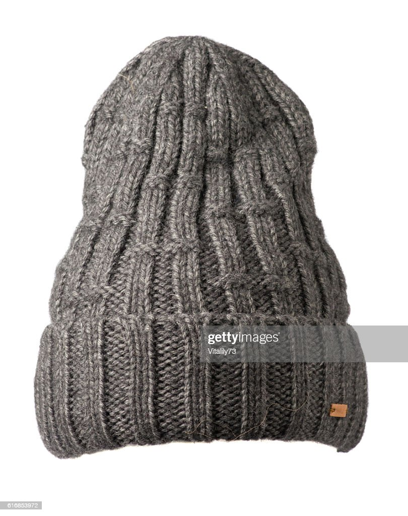 knitted hat isolated on white background . hat gray . : Stock Photo