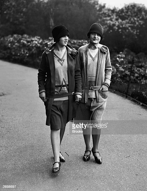 Knitted jersey outfits by Wilson's of Great Portland Street in London in the pioneering styles of Chanel and Patou