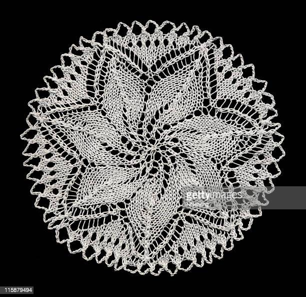 knitted lace doily - lace stock pictures, royalty-free photos & images