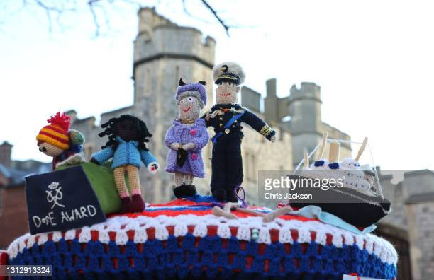 Knitted 'postbox topper' is seen in central Windsor on the day of The Duke of Edinburgh's Funeral on April 17, 2021 in Windsor, England. The Duke of...
