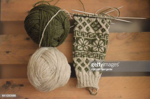 Knitted traditional sweater in the making