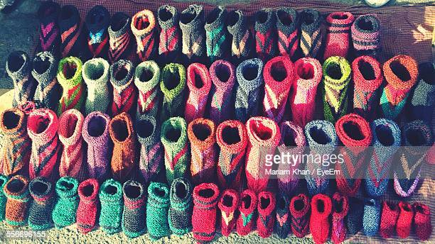 Knitted Wool Socks For Sale At Market Stall