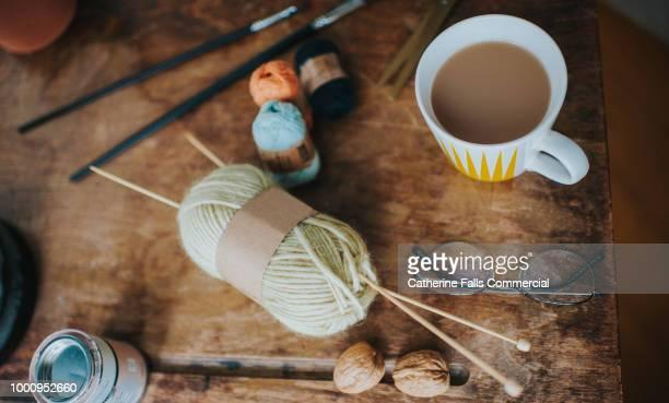 knitter and craft top down images - handwerkprodukten stockfoto's en -beelden