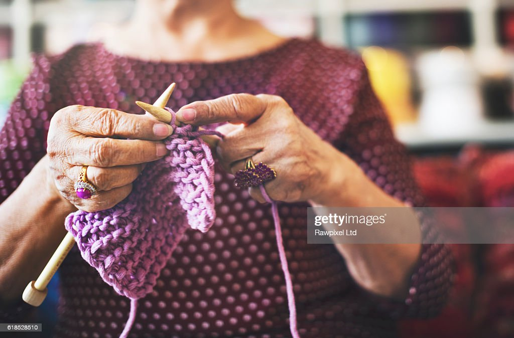 Knitting Knit Needle Yarn Needlework Craft Scarf Concept : Stock Photo