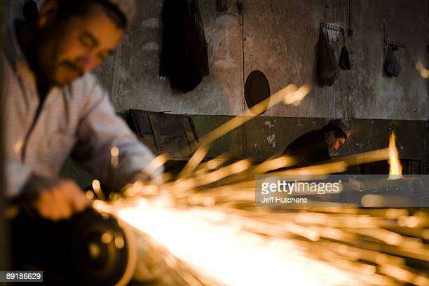Knives are made at the Yengisar Knife Factory by Uighur muslims a Chinese minority based in the province of Xinjiang on October 10 2007 in Yengisar...