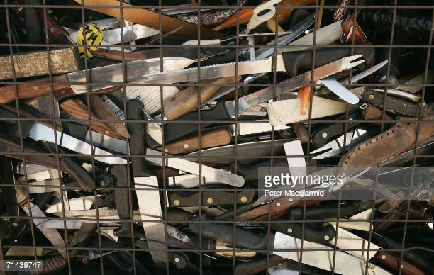 Knives fill a crate ready for crushing on July 14 2006 in Hitchin England Police say that 100000 knives and other weapons were handed in during a...