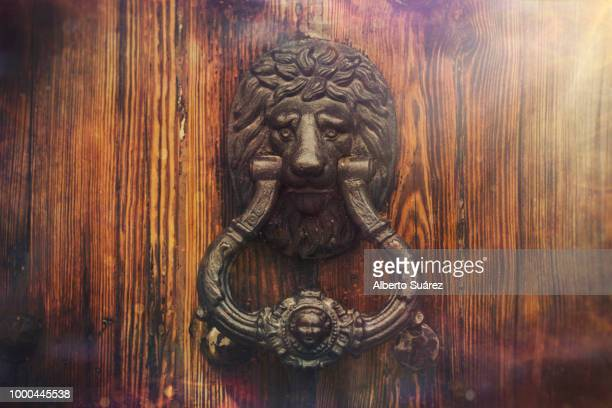 knocking on lion door [2] - door knocker stock photos and pictures