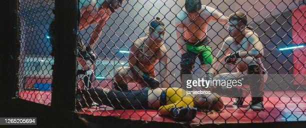 knockout during martial arts training. helping unconcious woman - combat sport stock pictures, royalty-free photos & images
