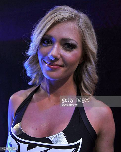 Knockout Girl Elena Romanova attends the inaugural event for BKB Big Knockout Boxing at the Mandalay Bay Events Center on August 16 2014 in Las Vegas...