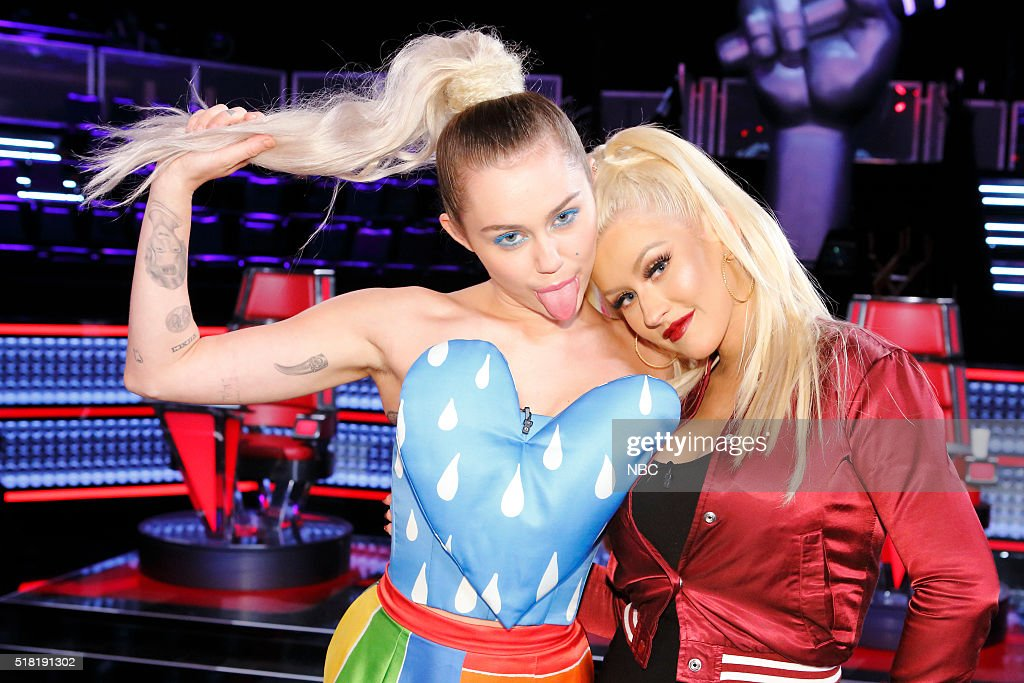 THE VOICE -- 'Knockout Reality' -- Pictured: (l-r) Miley Cyrus, Christina Aguilera --