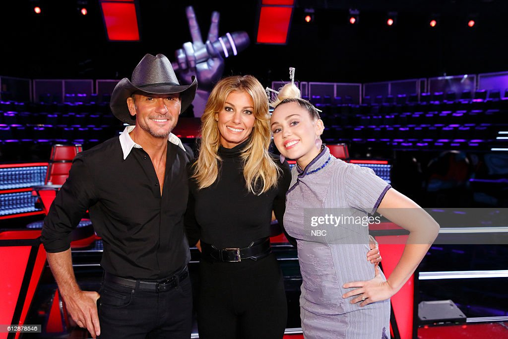 THE VOICE -- 'Knockout Reality' -- Pictured: (l-r) Tim McGraw, Faith Hill, Miley Cyrus --