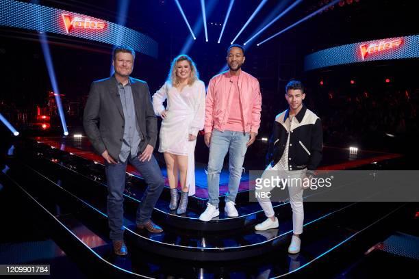 "Knockout Rounds"" Episode 1809 -- Pictured: Blake Shelton, Kelly Clarkson, John Legend, Nick Jonas --"