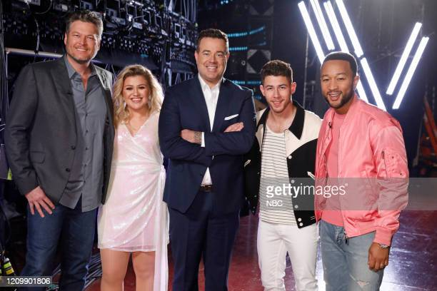 "Knockout Rounds"" Episode 1809 -- Pictured: Blake Shelton, Kelly Clarkson, Carson Daly, Nick Jonas, John Legend --"