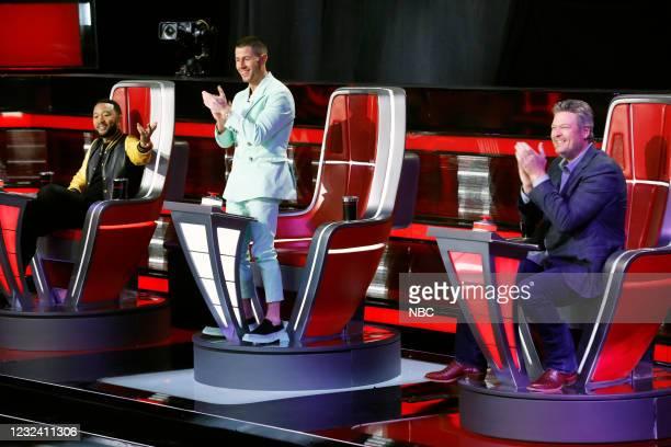 "Knockout Rounds"" Episode 2010 -- Pictured: John Legend, Nick Jonas, Blake Shelton --"