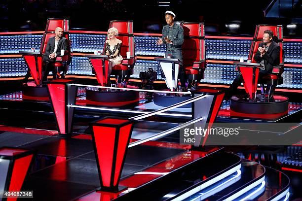 THE VOICE 'Knockout Rounds' Pictured Adam Levine Gwen Stefani Pharrell Williams Blake Shelton