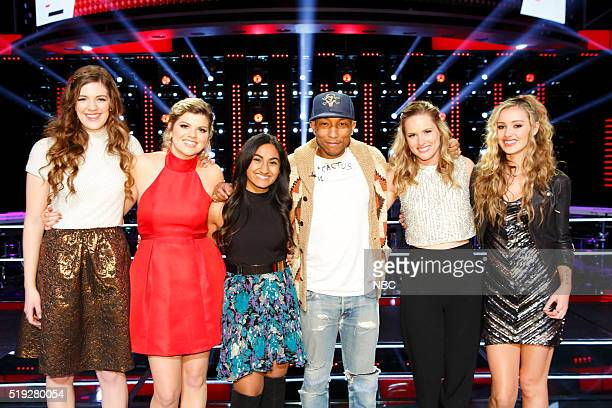 THE VOICE Knockout Rounds Pictured Emily Keener Caity Peters Moushumi Chitre Pharrell Williams Hannah Huston Lacy Mandigo
