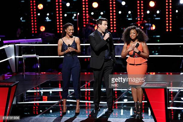 THE VOICE Knockout Rounds Pictured Maya Smith Carson Daly Tamar Davis
