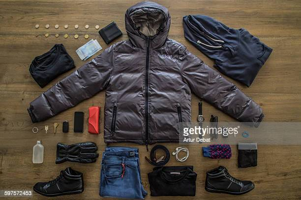 Knolling all my personal stuff for a winter day.