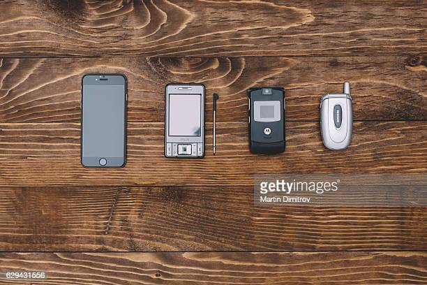 Knolling concept of telephones