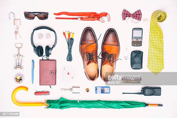 Knolling man's stuff with vivid colors.