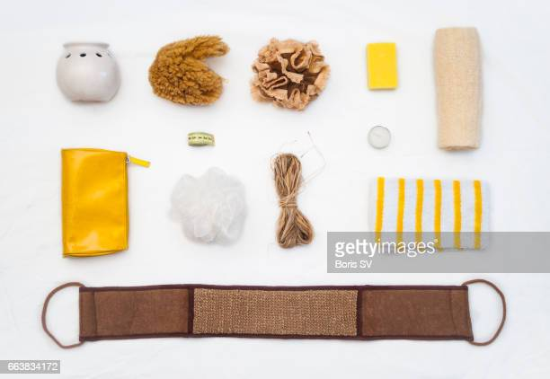 knolling of sponges on the white background - phloem stock photos and pictures