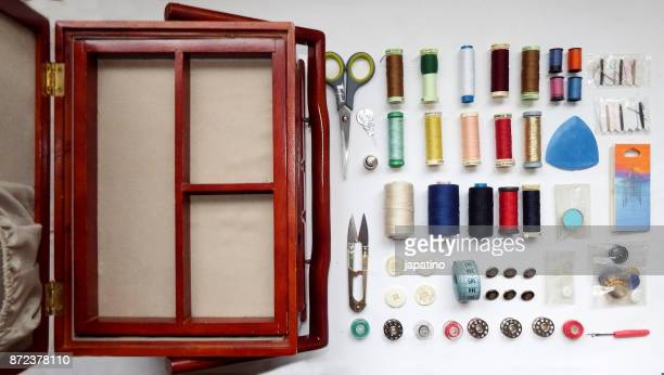 knolling. sewing box - thimble stock photos and pictures