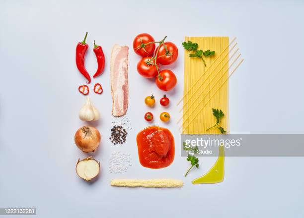 knolling style of amatriciana pasta - ingredient stock pictures, royalty-free photos & images