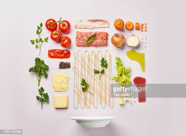 knolling style of bolognese pasta - ingredient stock pictures, royalty-free photos & images