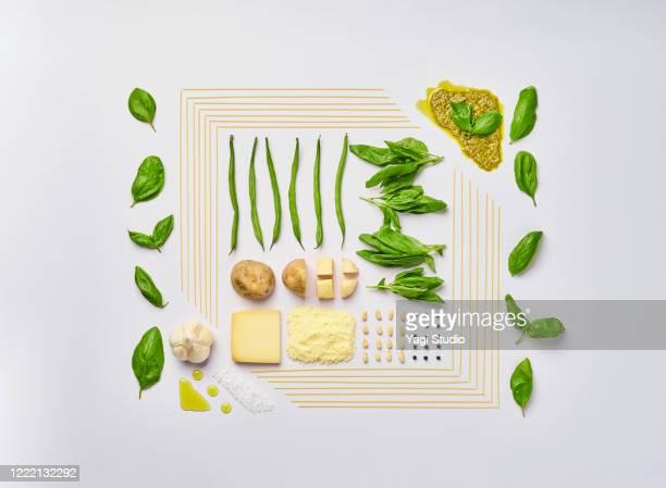 knolling style of genovese pasta - still life foto e immagini stock