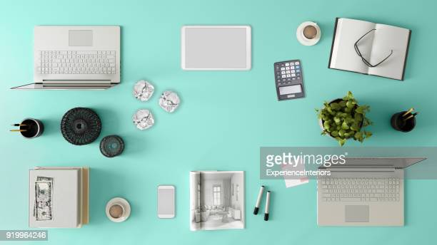 knolling top view of a team office table - office desk top view stock photos and pictures