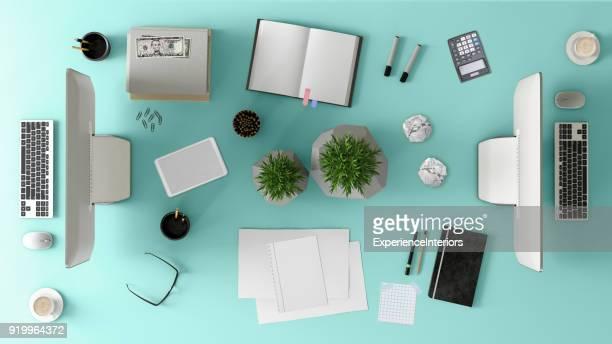 vue du dessus d'une table de bureau de l'équipe knolling - fourniture de bureau photos et images de collection