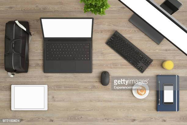 knolling top view office table with laptop - laptop mockup stock photos and pictures