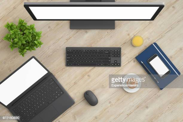 knolling top view office table with laptop - viewpoint stock pictures, royalty-free photos & images