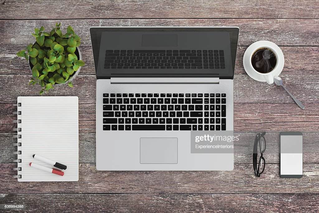 Knolling work table view with a laptop : Stock Photo