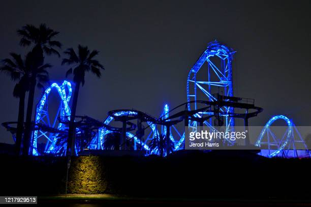 Knott's Berry Farm is illuminated in blue lights during the coronavirus pandemic on April 09 2020 in Buena Park United States Landmarks and buildings...