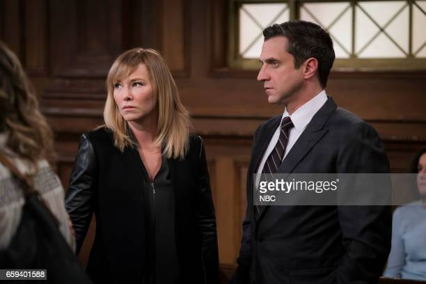 """Know It All"""" Episode 1814 -- Pictured: Kelli Giddish as Detective Amanda Rollins, Raul Esparza as A.D.A Rafael Barba --"""