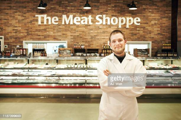 i know my meat - butcher's shop stock pictures, royalty-free photos & images