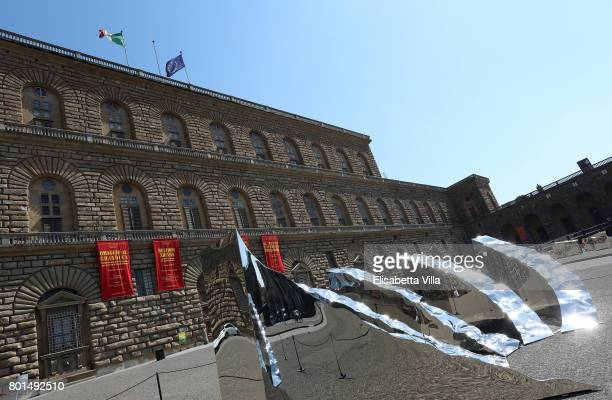'Knowledge' sculpture is shown in front of Palazzo Pitti as contemporary artist Helidon Xhixha opens his new exhibition of sculpture at Boboli Garden...